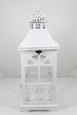 Lampion drewniany biały 54x20x20