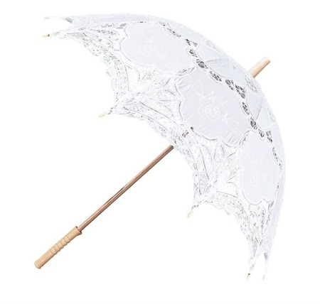 Parasolka koronkowa ślubna biała średnica 79 cm
