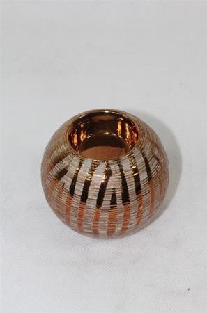 Świecznik kula złota ceramiczna  H: 8 cm