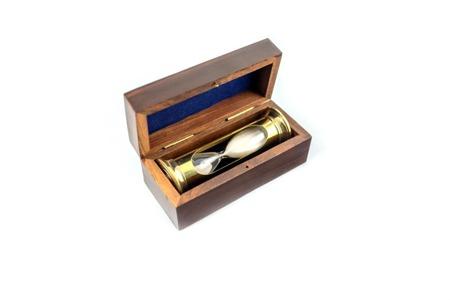 Mosiężna klepsydra w pudełku drewnianym, 3 minuty