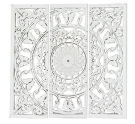 Dekoracja Ścienna Z Lustrem, 3 Części, Razem 90x90