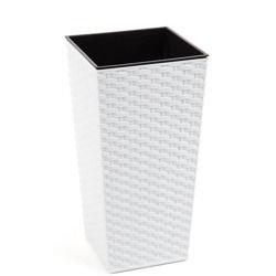 Doniczka Finezja z wkładem Ratan Biały 25x25 H:46