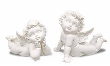 Figurka Aniołek Leżący na Brzuchu Biały 14x15x11cm