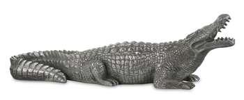 Figurka Krokodyl srebrny H: 19 cm