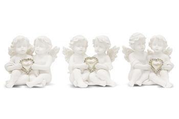 Figurka Para Siedzących Aniołków z Sercem 7x6x8 cm