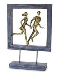 Figurka Para ramka niebieski złoty biegnący 27x19cm