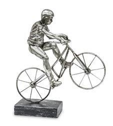 Figurka Srebrna Bond Kolarz Rowerzysta 28x24cm