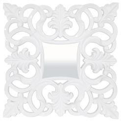 Kwadratowa Stylowa Rama Lustro biały 101 x 101 cm