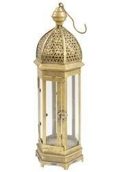 Mały Lampion Metalowy Złoty Ozdobny wys.57-58cm
