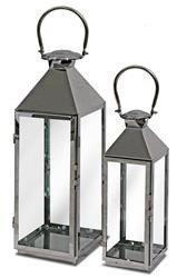 Metalowy Lampion 2 Szt. Srebrny Metal Szkło