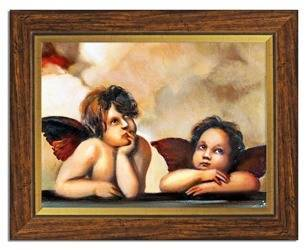 """Obraz """"Anioły"""" ręcznie malowany 37x47cm"""