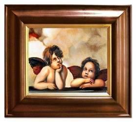 """Obraz """"Anioły"""" ręcznie malowany 43x48cm"""