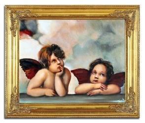 """Obraz """"Anioły"""" ręcznie malowany 53x64cm"""
