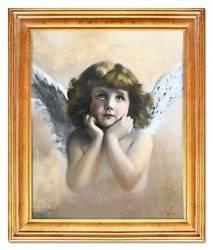 """Obraz """"Anioły"""" ręcznie malowany 54x64cm"""