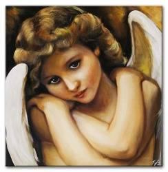 """Obraz """"Anioły"""" ręcznie malowany 60x60cm"""