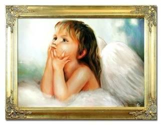 """Obraz """"Anioły"""" ręcznie malowany 63x84cm"""