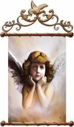 """Obraz """"Anioły"""" ręcznie malowany 67x100cm"""
