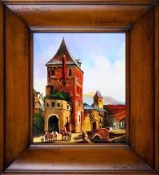 """Obraz """"Architektura"""" ręcznie malowany 66x76cm"""