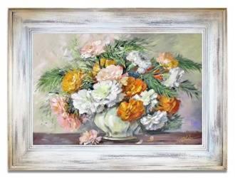 Obraz - Bukiety mieszane  - olejny, ręcznie malowany 86x116cm
