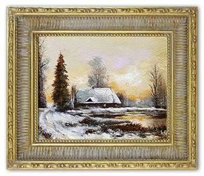 Obraz - Dworki, mlyny, chaty, - olejny, ręcznie malowany 27x32cm