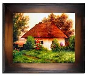 """Obraz """"Dworki, mlyny, chaty,"""" ręcznie malowany 61x71cm"""