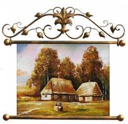 """Obraz """"Dworki, mlyny, chaty,"""" ręcznie malowany 72x75cm"""