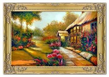 """Obraz """"Dworki, mlyny, chaty,"""" ręcznie malowany 75x105cm"""