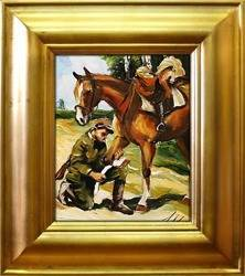 Obraz - Juliusz i Wojciech Kossakowie - olejny, ręcznie malowany 43x48cm