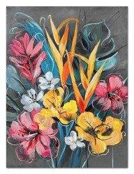 """Obraz """"Kwiaty nowoczesne"""" ręcznie malowany 110x150cm"""