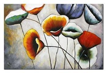 """Obraz """"Kwiaty nowoczesne"""" ręcznie malowany 60x120cm"""