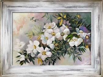 """Obraz """"Kwiaty nowoczesne"""" ręcznie malowany 76x96cm"""