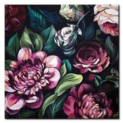 """Obraz """"Kwiaty nowoczesne"""" ręcznie malowany 90x90cm"""