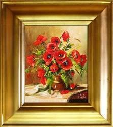 Obraz - Maki - olejny, ręcznie malowany 43x48cm
