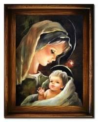 Obraz - Maryja - olejny, ręcznie malowany 37x47cm