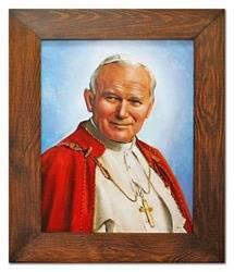 """Obraz """"Papież Jan Paweł II"""" ręcznie malowany 58x68cm"""