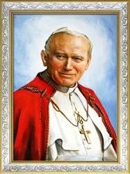 """Obraz """"Papież Jan Paweł II"""" ręcznie malowany 64x84cm"""