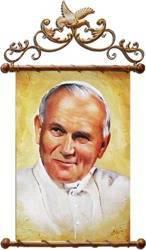 """Obraz """"Papież Jan Paweł II"""" ręcznie malowany 68x95cm"""