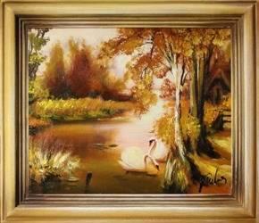 """Obraz """"Pejzaz tradycyjny"""" ręcznie malowany 35x40cm"""