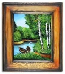 """Obraz """"Pejzaz tradycyjny"""" ręcznie malowany 61x71cm"""