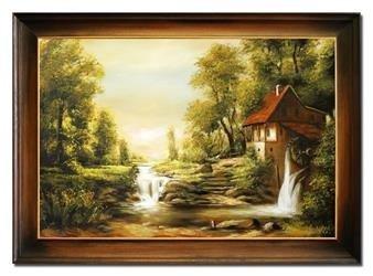 """Obraz """"Pejzaz tradycyjny"""" ręcznie malowany 64x84cm"""