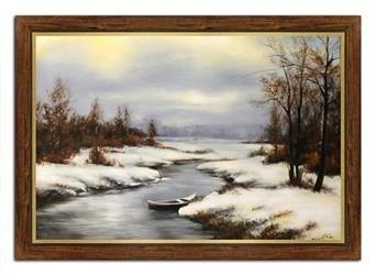"""Obraz """"Pejzaz tradycyjny"""" ręcznie malowany 75x105cm"""
