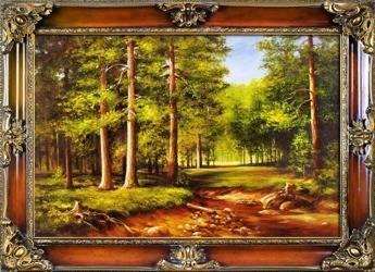 """Obraz """"Pejzaz tradycyjny"""" ręcznie malowany 75x95cm"""