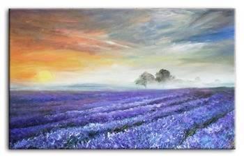 """Obraz """"Pola lawendowe"""" ręcznie malowany 200x125cm"""