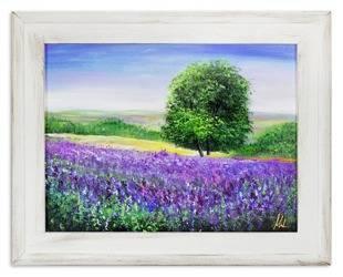 """Obraz """"Pola lawendowe"""" ręcznie malowany 37x47cm"""