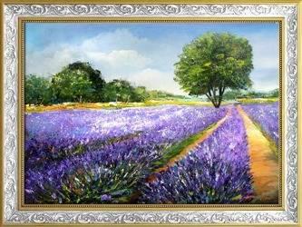 """Obraz """"Pola lawendowe"""" ręcznie malowany 64x84cm"""