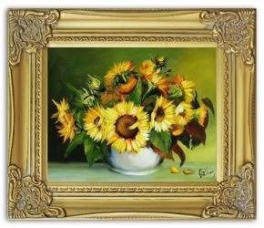 Obraz - Sloneczniki - olejny, ręcznie malowany 27x32cm