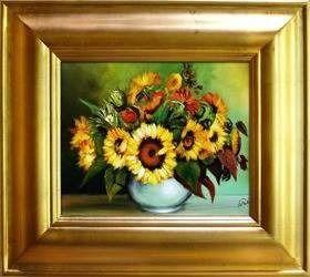 """Obraz """"Sloneczniki"""" ręcznie malowany 43x48cm"""