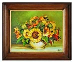 """Obraz """"Sloneczniki"""" ręcznie malowany 54x63cm"""