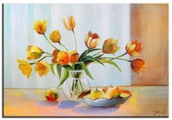 Obraz - Tulipany - olejny, ręcznie malowany 60x90cm