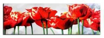 """Obraz """"Tulipany"""" ręcznie malowany 50x150cm"""